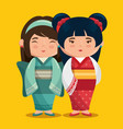 cute japanese girls group kawaii style vector image