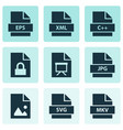 document icons set with programming language vector image vector image