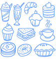 doodle of various food and drink vector image vector image