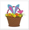 Easter rabbit in basket full of flower vector image vector image