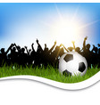 football in grass with cheering crowd vector image