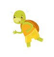 funny turtle in yellow sports shorts on morning vector image vector image