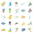 gamble icons set isometric style vector image vector image