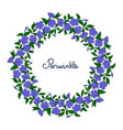 garland with blue periwinkle flowers element for vector image