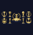golden trophy realistic champion award contest vector image