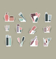 hairdressers accessories on cut out icons vector image vector image