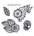 hand drawn flowers coloring page decoration set vector image vector image