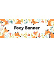 horizontal banner with cute foxes and plants vector image