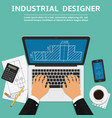 industrial designer working on laptop computer vector image