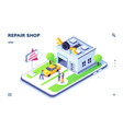 isometric car service with auto and mechanic man vector image