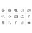 media hand drawn sketch icon set vector image vector image