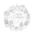 monogram pots with plants enjoy flower day vector image vector image