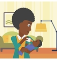 Mother feeding baby vector image vector image
