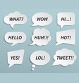 paper speech bubbles talk clouds with shadow and vector image