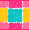 pencil hatched pink yellow and green squares vector image vector image