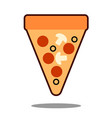 pizza slice with melted cheese and pepperoni vector image vector image