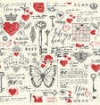 seamless pattern on theme of declarations of love vector image vector image