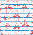 seamless pattern with flamingo and hearts vector image