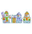 set cute snowmans vector image