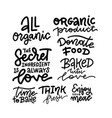 set hand drawn lettering phrase about food vector image