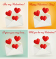 set valentines day greeting cards vector image