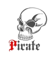 Sketched piracy symbol with old human skull vector image vector image