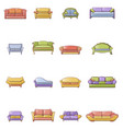 sofa chair room couch icons set cartoon style vector image vector image