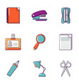 stationery icons set flat style vector image vector image
