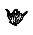 surfing logo shaka hand sign hand drawn design vector image vector image