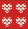 tile knitting pattern hearts on red background vector image