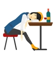 Woman sleeping in bar vector image