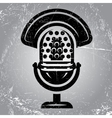 retro poster with scratches and radio Microphone vector image