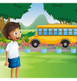 A young boy ready for school vector image vector image