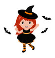 adorable little witch dancing with bats halloween vector image vector image