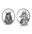 animal character walrus sailor and crocodile vector image