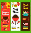 barbecue vertical flyer set vector image