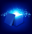 blue gift box on gradient background vector image vector image
