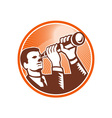 Businessman Holding Looking Telescope Woodcut vector image vector image