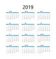 calendar 2019 template vector image vector image