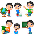 cartoon little boy collection set vector image