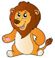 cartoon standing lion vector image vector image