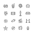 Cinema Outline Icon Set vector image vector image