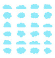 cloud icons blue shapes sky in cartoon style vector image