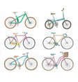 collection of realistic drawings of bicycles of vector image