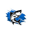 fishing logo isolated on white with water color vector image vector image