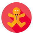 Flat Design Gingerbread Man Cookie Circle Icon vector image vector image