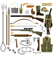 flat of hunting gear and vector image