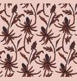 floral botanical line art seamless patternretro vector image