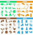 four seasons of the year big set of icons eps10 vector image vector image