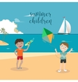 girls and boys playing on beach vector image vector image
